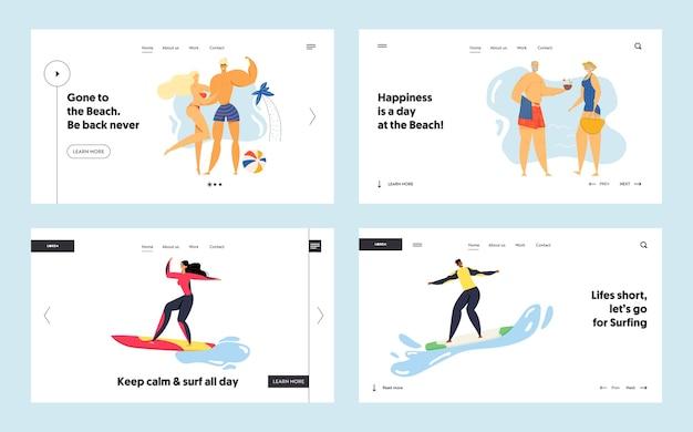 Sport activity website landing page set