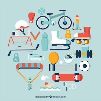 Sport ausrüstung symbole