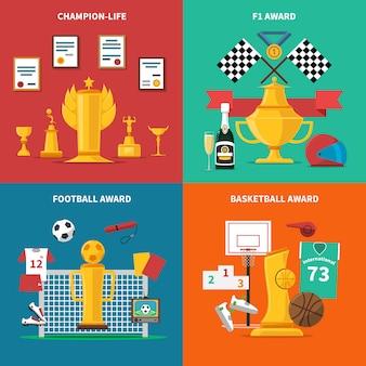 Sport auszeichnungen icons set