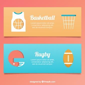 Sport-banner mit mehreren elementen