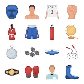 Sport der gesetzten ikone der verpackenkarikatur. illustration boxer champion. isolierte cartoon set symbol sport des boxens.