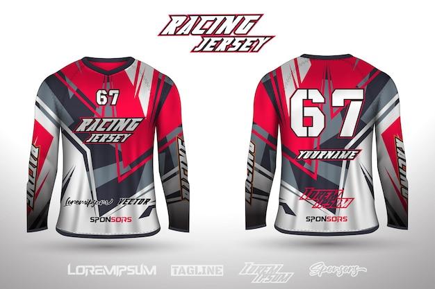 Sport-design-trikot für fußballrennen radfahren gaming-trikot premium-vektor