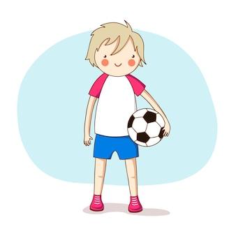 Sport. ein junge in sportuniform mit einem fußball. vektor