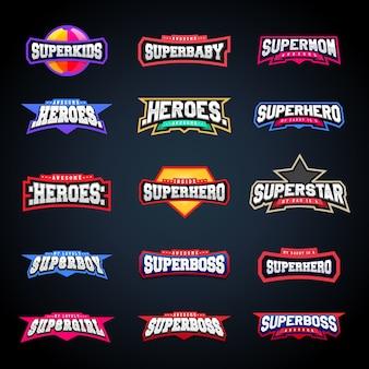 Sport emblem typografie-set