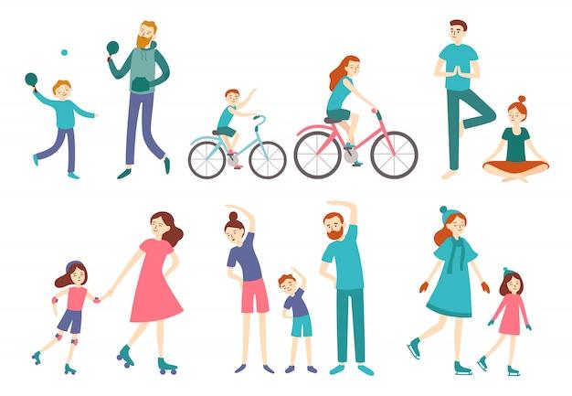 Sport familie menschen. paar mit kindern beim fitnesstraining, radfahren und tennis spielen. sportlebensstil-tätigkeits-vektorillustration