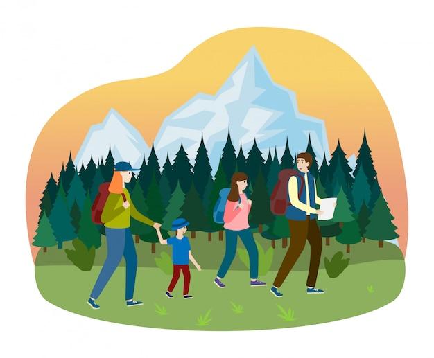 Sport familienspaziergang wandern camping im freien baum waldplatz, charakter vater mutter junge und tochter auf weiß, illustration.