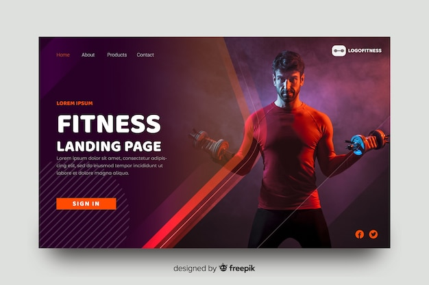 Sport fitness landing page