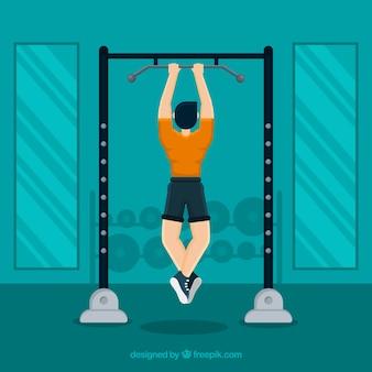Sport fitnessstudio hintergrund mit training der menschen
