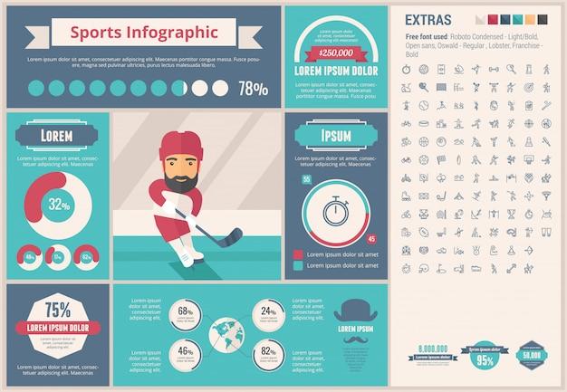 Sport flaches design infographik vorlage