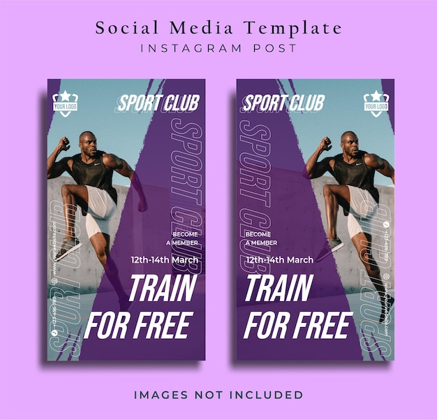 Sport flyer social media post instagram story vorlage lila hintergrund premium-vektor