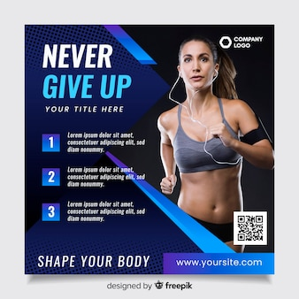 Sport flyer vorlage mit qr-code