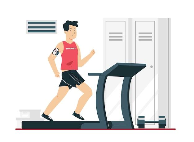 Sport for health konzept gehen auf einem laufband, um einen gesunden körper zu erhalten