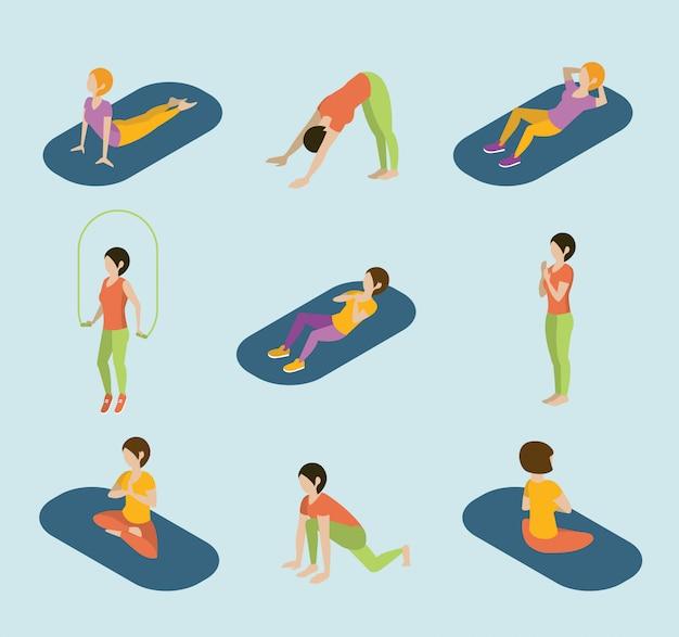 Sport frauen yoga gym gymnastik workout übung flache 3d web isometrische infografik vektor.