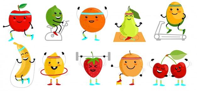 Sport früchte charaktere. gesundes essen. obstsportler. lustige fruchtnahrungsmittel auf sportübungen, fitnessvitamin-menschliche illustration