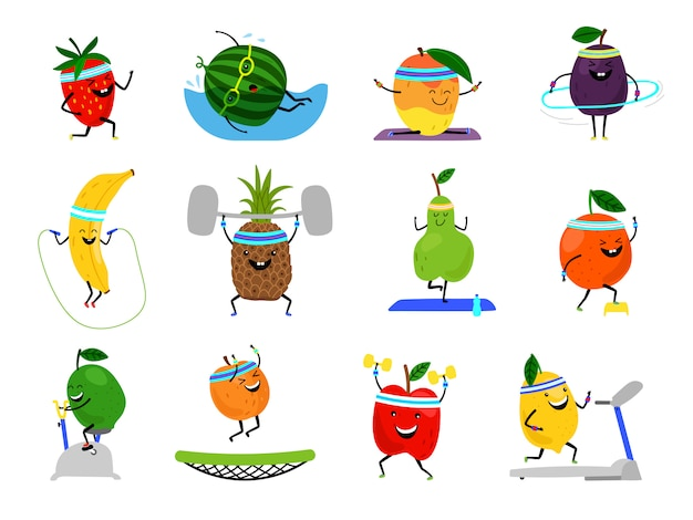 Sport früchte charaktere. lustige fruchtnahrungsmittel auf sportübungen, vektorfitnessvitamin-gesunde menschliche ernährung
