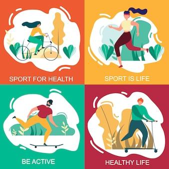 Sport für gesundheit gesundes leben seien sie aktives fahnen-set