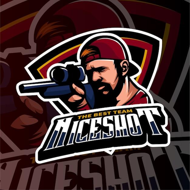 Sport gaming logo schießen stil mafia