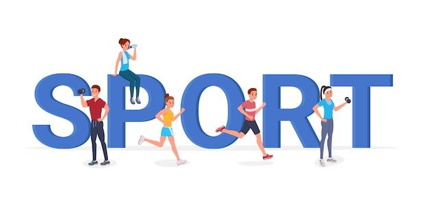 Sport große buchstaben flach