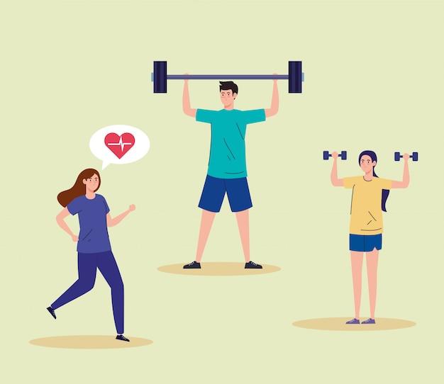 Sport, gruppenleute, die sport treiben, gesunder lebensstil