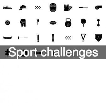 Sport herausforderungen icon-set