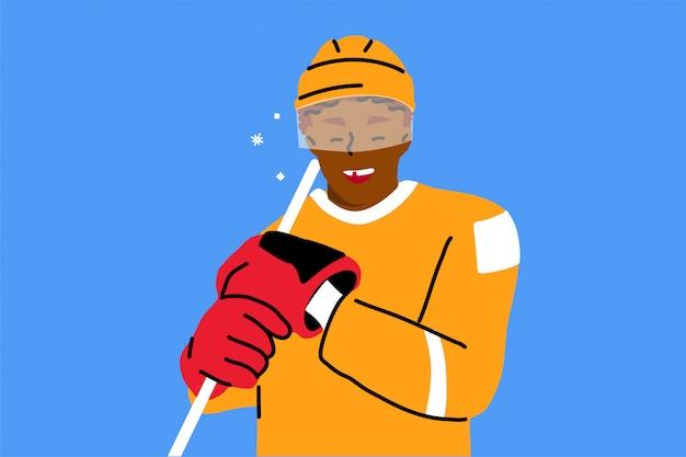 Sport, hockey, spiel, leichtathletik-konzept