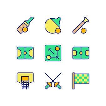 Sport icon set kollektion farbe