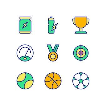 Sport-ikonen-gesetzter farbvektor