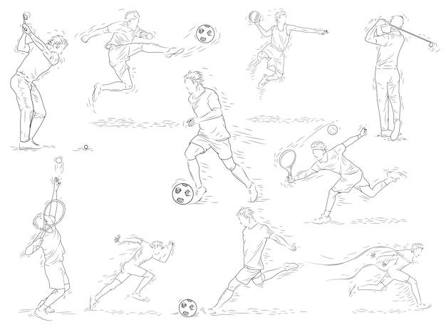 Sport-illustration, sport-spieler in der linie gezeichneten vektor-illustration