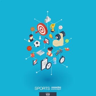 Sport integrierte web-icons. isometrisches interaktionskonzept für digitale netzwerke. verbundenes grafisches punkt- und liniensystem. abstrakter hintergrund für gesundheit, lebensstil, fitness und fitnessstudio. infograph