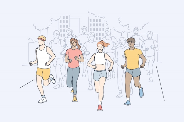 Sport, joggen, marathon, aktivitätskonzept