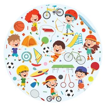 Sport-konzept-design mit lustigen kindern