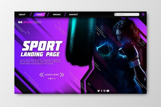 Sport landing page mit boxen
