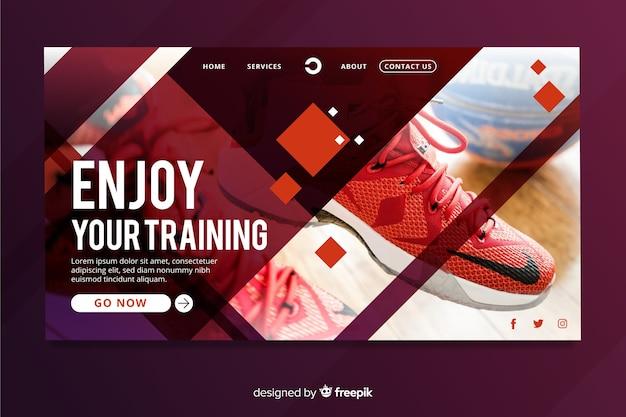 Sport landing page mit foto und geometrischen formen