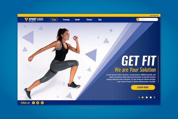 Sport landing page mit läufer