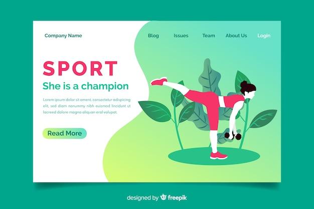 Sport landing page vorlage mit farbverlauf