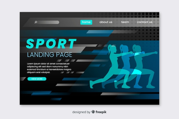Sport landing page web template