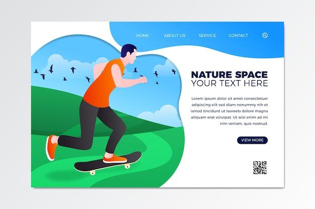 Sport-landungsseitenschablone des flachen designs im freien