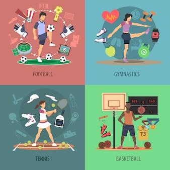 Sport leute design konzept set