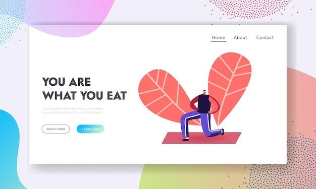 Sport life activity landing page vorlage. gesunder mann, der yoga asana oder aerobic-übung im stadtpark tut