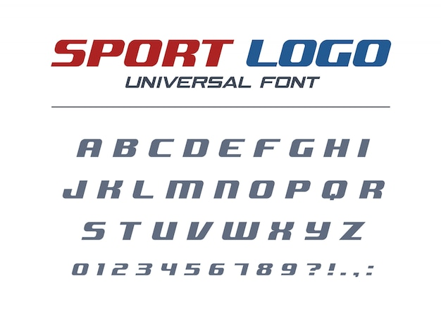 Sport logo universelle kursive schrift. schnelles und starkes futuristisches, athletisches, dynamisches alphabet. technologie typografie stil. buchstaben, zahlen für hochgeschwindigkeits-autorennen. moderne abc-schrift