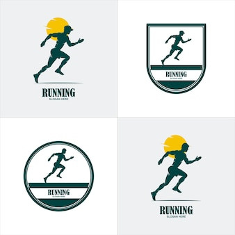 Sport-logo-vorlage. laufender sportler-logotyp. läufer-emblem. vektor