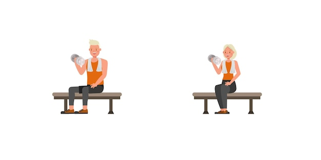 Sport mann und frau charakter vektordesign. präsentation in verschiedenen aktionen. nein12