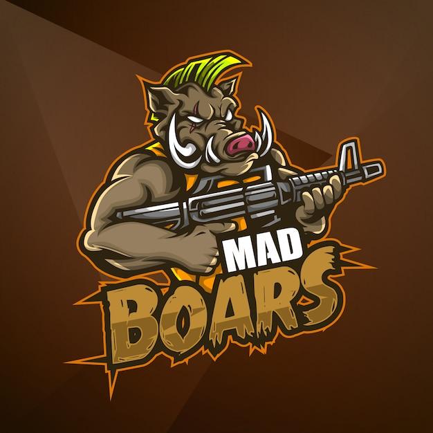 Sport maskottchen logo design vektor vorlage esport eber schwein wildschwein wütend