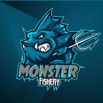 Sport maskottchen logo design vektor vorlage esport fisch fischen monster meerestier