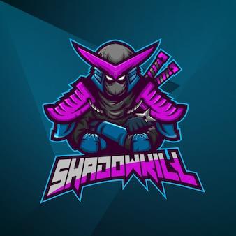Sport maskottchen logo design vektor vorlage esport ninja samurai kämpfer