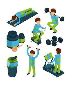 Sport menschen isometrisch. übungen und eignungsausrüstung für die sammlung der gesundheitsturnhallenwerkzeuge 3d lokalisiert