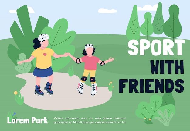 Sport mit freunden banner vorlage. broschüre, plakatkonzeptdesign mit zeichentrickfiguren.