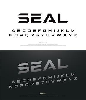 Sport moderne alphabet schriftarten und typografie regelmäßig und kursiv