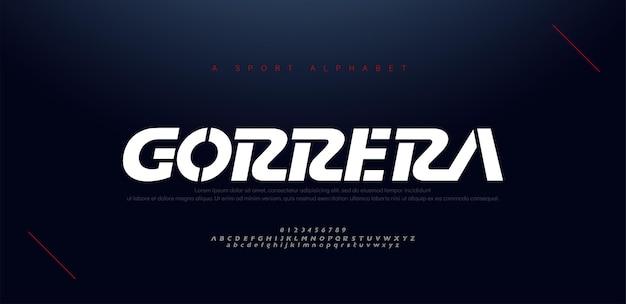 Sport moderne kursive alphabet schriftarten und nummer. typografie, abstrakte technologie, mode, digitale, zukünftige kreative logo-schrift.
