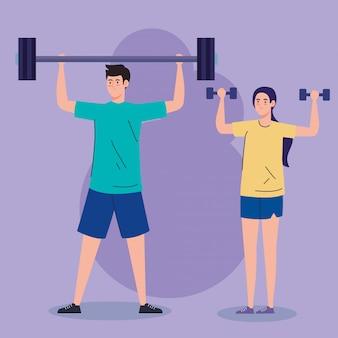 Sport, paar mit gewichten, schwerem gerät, sport und freizeit